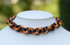 Halloween Black and Orange Luxury Dog Collar / by ChainOfDreams, $17.00