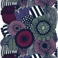 The Siirtolapuutarha fabric is a beautiful multi-colored fabric design by Maija Louekari for Marimekko. The geometric and bold flowers are bound to make a statement in any room of the house. Available in different colors. Purple Home Decor, Home Decor Fabric, Textures Patterns, Print Patterns, Fabric Patterns, Pattern Print, Textile Design, Fabric Design, Marimekko Fabric