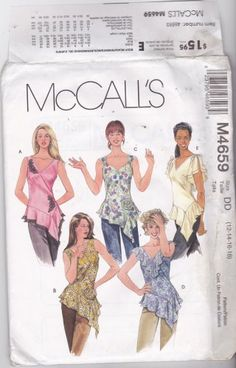 McCall's M 4659 Pattern uncut 12 14 16 18 Summer Tops Asymmetrical Ruffle Flounce Flower