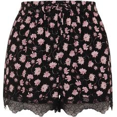 TopShop Floral Lace Trim Shorts (56 AUD) ❤ liked on Polyvore featuring shorts, multi, topshop shorts, topshop, drawstring shorts, rayon shorts and draw string shorts
