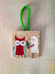 Christmas ornament, 3 x 3 canvas hanging ornament, bird with tree and owl