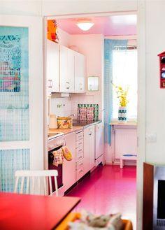 Look!  A Hot Pink Kitchen Floor - Kitchen Inspiration