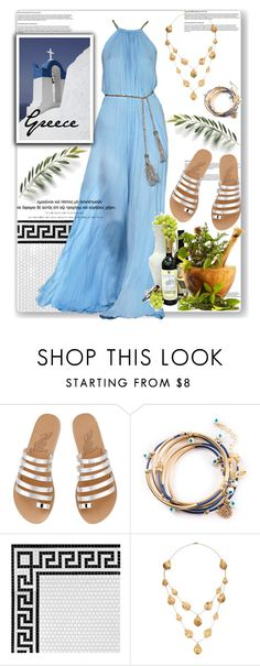"""""""Ancient Greece Inspiration"""" by sweta-gupta ❤ liked on Polyvore featuring Ancient Greek Sandals, Merola, Salvatore Ferragamo, Kevia, Guide London, women's clothing, women, female, woman and misses"""