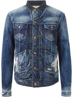 Shop men's Denim Jackets on Farfetch. Denim Jacket Fashion, Denim Blazer, Denim Jacket Men, Denim Coat, Denim Jackets, Denim Jeans, Love Jeans, Jeans Style, Moto Wear