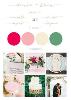 Wedding Style Board: Fruit Punch Pink, Dusty Rose, Ivory, Sage Green || Romantic, Elegant, Graceful, Tropical || All-White Wedding Cake, Gold-Rimmed Plates, Pink Cocktails, Proteas, Pops of Color by Moana Events