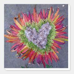 Heart No.6 - Dried thistles, mignonette & reed-grass Canvas
