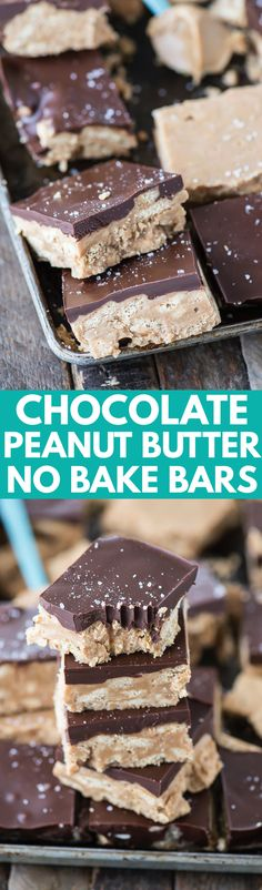 The best no bake chocolate peanut butter bars! 5 simple ingredients - ready in 1 hour!