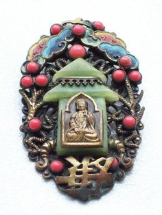 ART DECO CZECH MAX NEIGER CHINESE STYLE PAGODA/BUDDHA VINTAGE BROOCH/PIN |