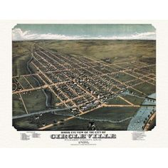Antique Map of Circleville Ohio 1876 Pickaway County Canvas Art - (24 x 36)