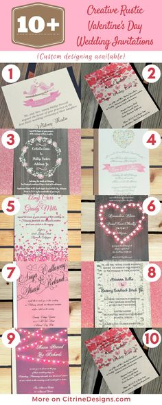 Affordable rustic Valentine's Day Wedding Invitations, all below $1.29 each and with coupon hearts25 save 25% more until October 16th.