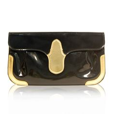 Balenciaga Black & Gold Patent Clutch http://www.consignofthetimes.com/product_details.asp?galleryid=7546