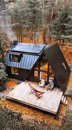 Cozy Zen Tiny House ideas for small rooms - # for # cozy ., cabin home, Cozy Zen Tiny House ideas for small rooms - # for # cozy . A Frame Cabin, A Frame House, Casas Containers, Cabin In The Woods, House Ideas, Tiny House Design, House Goals, My Dream Home, Dream Homes