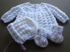 Handmade Crochet knit Baby Girl Sweater Set Newborn white and pink 3-6 months