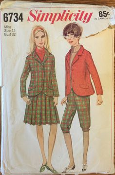 """Rare VTG 6734 Simplicity (early 1960's) misses' jacket, skirt, knickers. Size 12, Bust 32"""". Complete, unused, neatly cut. Excellent cond. by ThePatternParlor on Etsy"""