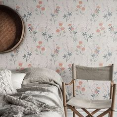 Wallpaper Emma grey is a flowering summer meadow with tall lupines and poppies flowing over the wallpaper. Soft shades of pink and grey on a pale grey background. Wallpaper Bedroom, Wallpaper, Decor, House Interior, Wall Wallpaper, Interior, Bedroom Collection, Inspirational Wallpapers, Flower Bedroom