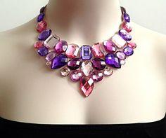 purple bib necklace purple and pink statement di BienBijou su Etsy, $29.00