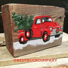 Red Truck with Christmas Tree by RedTruckCompany on Etsy
