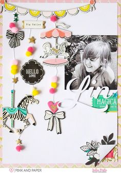 9x12 scrapbook layout created with Crate Paper Maggie Holmes Carousel by Julia Posta.