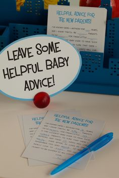 This is a great printable to help leave words of advice for the new mommy at her baby shower. #babyshower @HUGGIES Baby Shower Planner