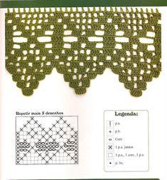 80 Gráficos de Crochet para Aprender a Fazer - Arte que Faz: Artesanato e Decoração Crochet Borders, Filet Crochet, Crochet Lace, Crochet Stitches, Lace Border, Crochet Projects, Diy And Crafts, Projects To Try, Album