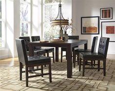 Athena Transitional Dark Chocolate Rubberwood MDF 7pc Dining Room Set