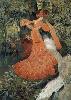 Georges de Feure - Elegante pres d'une Source, 1903 - France. Large HD