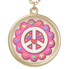 Pink Peace Sign Flower Gold Plated Necklace Gifts For Dad, Great Gifts, Mom Presents, Peace Sign Necklace, Crafts To Sell, Golf Crafts, Gold Plated Necklace, Black Felt, As You Like