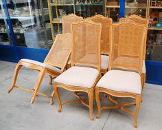 6 sedie in ciliegio massello seduta imbottita schienale in paglia di Vienna