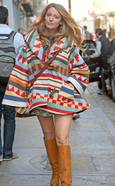 Busy Bee from Blake Lively's Pregnancy Style  Mom on the move! Blake sneaks in some baby shopping in NYC wearing a playful multi-colored print coat and knee-high mustard boots.