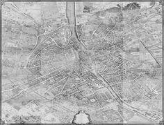 Paris Map Print - Turgot's 1739 Plan de Paris Decoupage Map : Vintage Paris Map - Archival Giclee Ca Paris Map, Water Stains, Aerial View, Victorian Era, Decoration, Picture Frames, Decoupage, Canvas Prints, How To Plan
