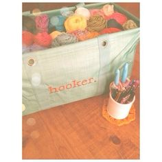 Love the personalization on this Large Utility Tote full of yarn for crochet!