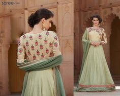 CREAM AND GREEN SILK GEORGETTE ANARKALI SUIT WITH EMBROIDERY WORK