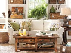 Love the crisp, clean colors in here, and the different textures.  #LivingRoom #Decor #Texture @Vicki Snyder Barn