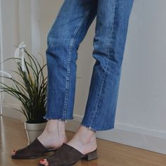 raw hem jeans & brown suede slip-ons #style #fashion
