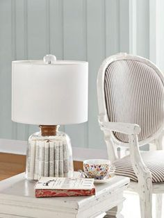 This glass lamp is filled with dictionary pages!