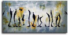 Een heel leuk en bijzonder figuratief geschilderd canvasdoek.De kunstschilder heeft het mooie werk gesigneerd.