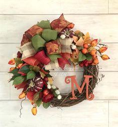 Fall Deco Mesh, Deco Mesh Wreaths, Fall Wreaths, Christmas Wreaths, Grapevine Wreath, Holiday Decor, Inspiration, Ideas, Biblical Inspiration