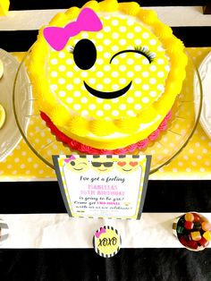 Emoji Themed Birthday Party Cake via Pretty My Party