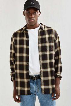 4207aa16b80 UO Plaid Rayon Button-Down Shirt - Urban Outfitters 90s Urban Fashion