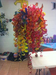 2nd of 3 Chihuly inspired plastic bottle chandeliers for the cafeteria in progress created with 5th and 6th grade students