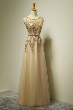 50th Wedding Anniversary Outfit Beaded Light Champagne Tulle Prom Dress Formal Long For S Party