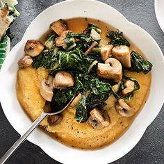 polenta with swiss chard and mushrooms.   I used this as inspiration and made polenta with swiss cheese, and carmelized onions, mushrooms and chard on top, followed by a poached egg. Perfect dinner!