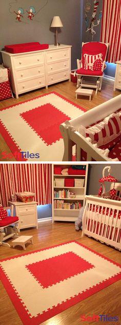 Dr. Seuss The Cat in the Hat themed nursery/playroom play mat using SoftTiles 1x1 Interlocking Foam Mats