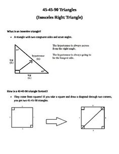 Printables Special Right Triangles 45 45 90 Worksheet 45 90 triangle integrated math ii pinterest triangles note this is not a worksheet for students to do just 2 trianglestriangle 45geometry trianglesspecial right