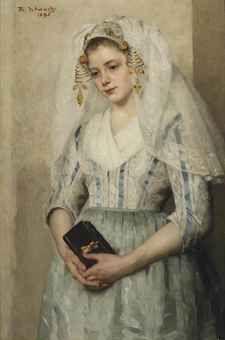 Het schilderij van Thérèse Schwartze, bruidje uit Oud-Beijerland (1895) door het Zeeuws Museum.