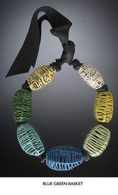 Liz Schock, Blue Green Basket Necklace, as seen in the book Showcase 500 Art Necklaces by Ray Hemachandra and Chunghi Choo