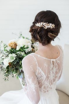 Wedding Hair Accessories Bridal Headpiece Gold Flower Clip