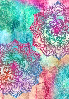 Round & Round the Rainbow Art Print Mandala Art Mandala Art, Design Mandala, Mandala Doodle, Watercolor Mandala, Mandala Canvas, Flower Mandala, Doodle Art, Cute Wallpapers, Wallpaper Backgrounds