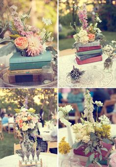 Vintage book centre pieces... These would probably make a good replacement for table numbers, you could have a 'Lewis Carroll' table for example or personalise it to your tastes - travel books if you're into travel, etc :-)