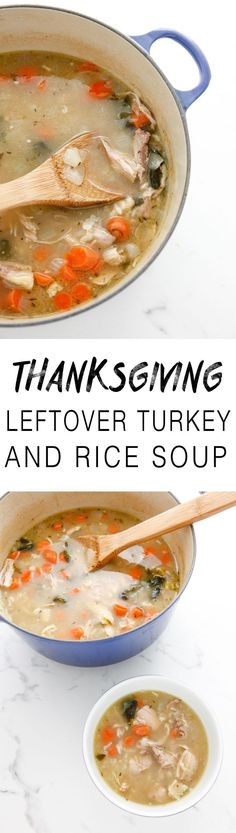 Use up those Thanksgiving leftovers with this Leftover Turkey and Rice Soup recipe! Make an easy dinner after a big meal via The Brooklyn Cook - Michelle Boule Soup Chili Recipes, Soup Recipes, Dinner Recipes, Cooking Recipes, Dinner Ideas, Crockpot Recipes, Recipies, Thanksgiving Leftovers, Thanksgiving Recipes
